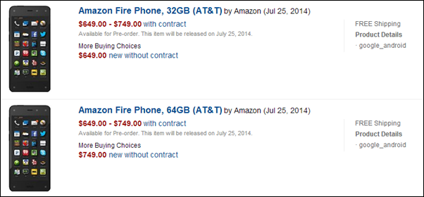 Amazon Fire Phone availability
