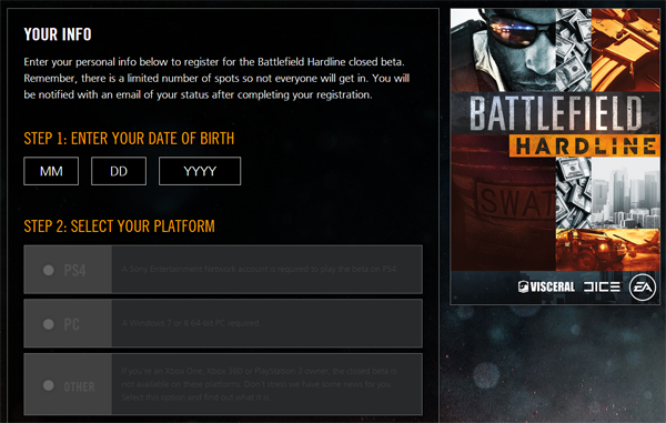 BF Hardline beta sign up
