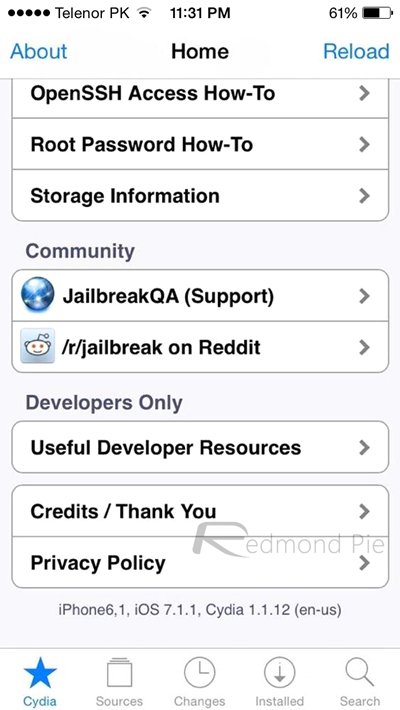 Jailbreak iOS 71 711 Cydia