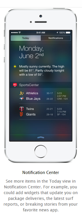 Notification Center widgets iOS 8