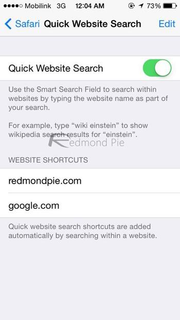 Quick site search