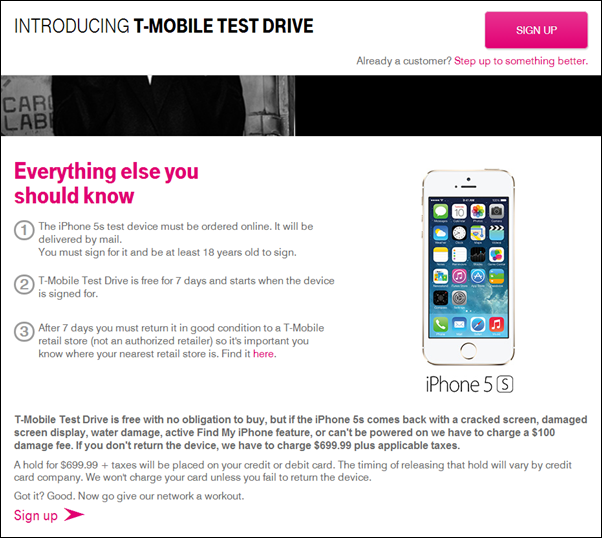 TMobile test drive iPhone 5s