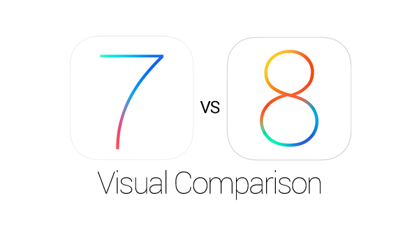 iOS 7 8 Visual Comparison