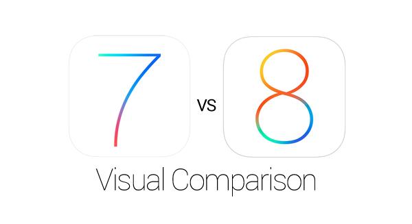 iOS 7 8 Visual Comparison