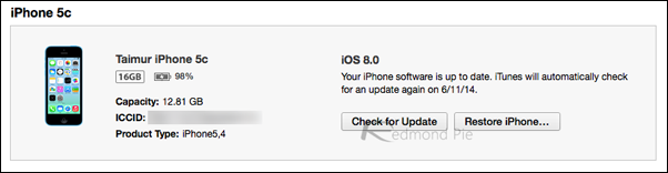 iOS 8 iTunes iPhone 5c
