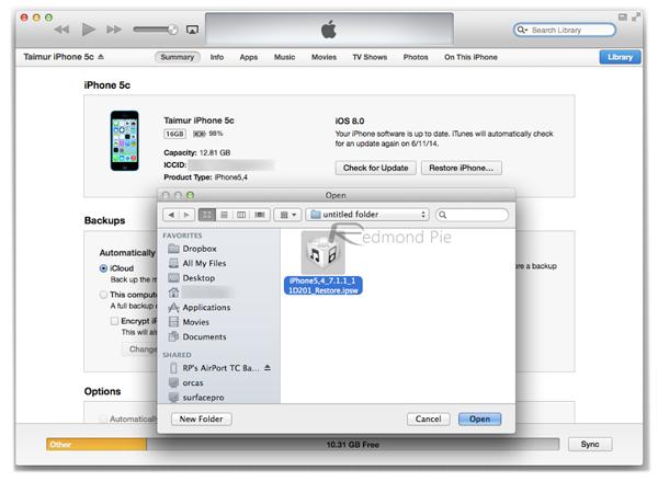 iTunes restore IPSW
