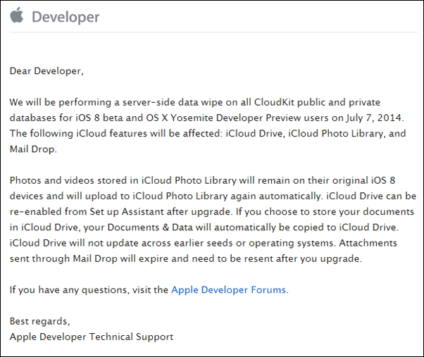 Apple dev CloudKit notice