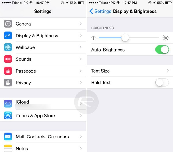 Display Brightness Settings