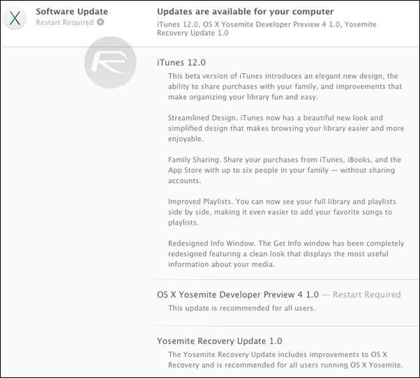 OS X 1010 DP4 iTunes 12