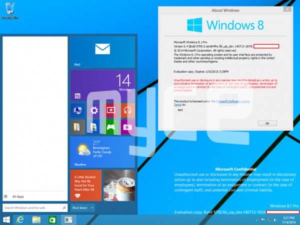 Start menu windows 9