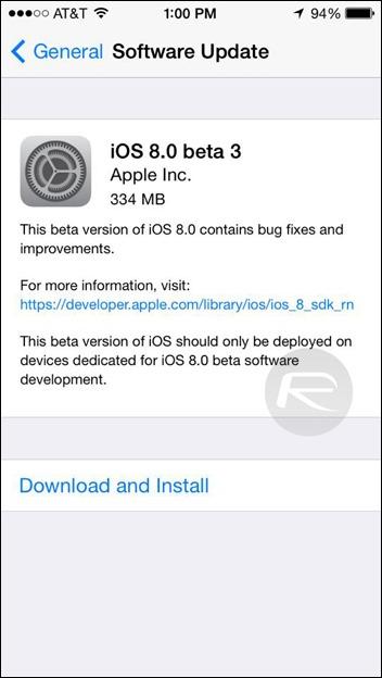iOS 8 beta 3 OTA