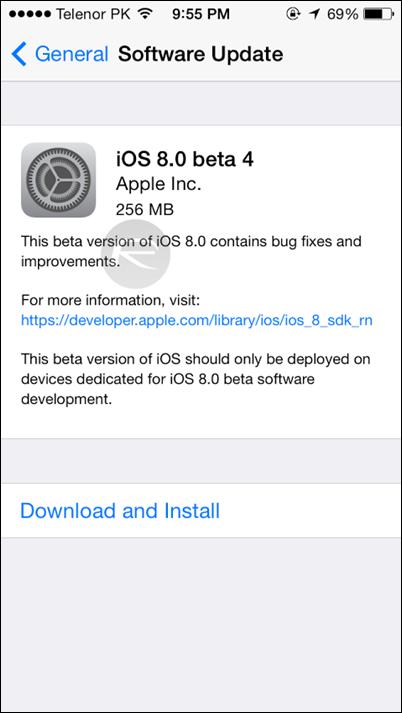 iOS 8 beta 4 OTA