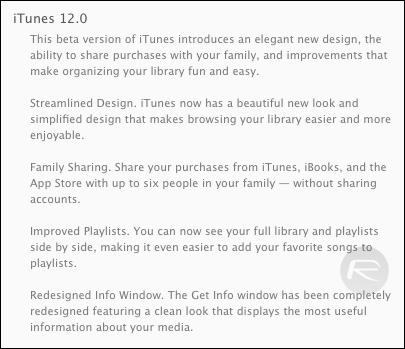 iTunes 12 change log