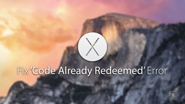 yosemite code redeemed error