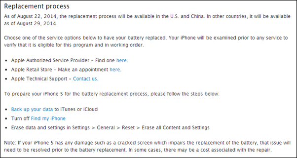 Battery Replacement Program iPhone 5