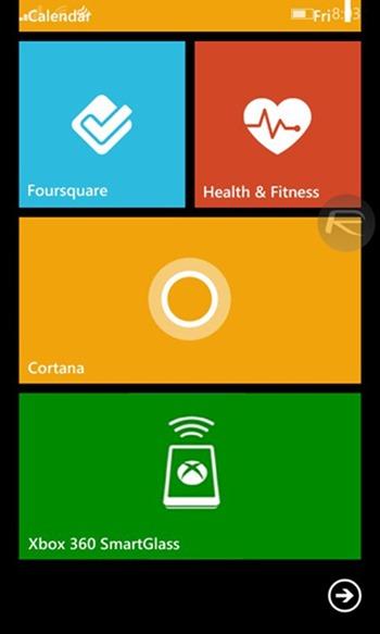 Cortana live tile