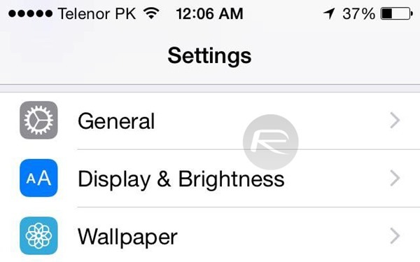 Display Brightness slider
