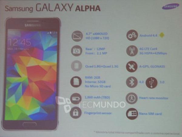 Galaxy Alpha specs