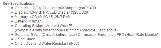 LG G Watch Specs