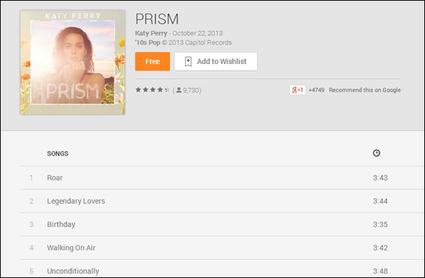 Prism Katty Perry Play Music