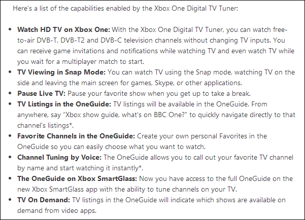Xbox One digital tv tuner features