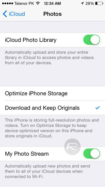 iCloud photo optimization