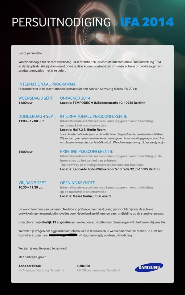 ifa 2014 invite