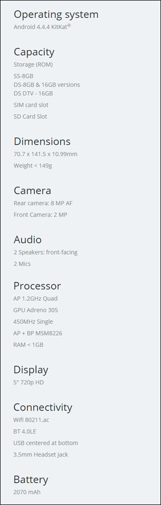 Moto G specs