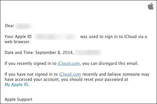 iCloud alert
