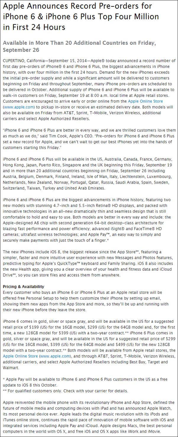 iPhone 6 6 Plus sales PR