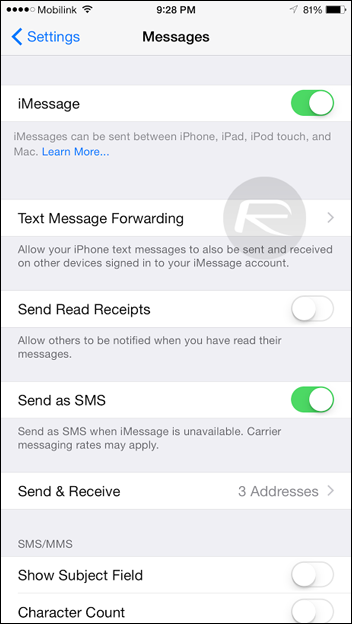 text forwarding iphone how to use sms forwarding in ios 8 1 on iphone and 1399