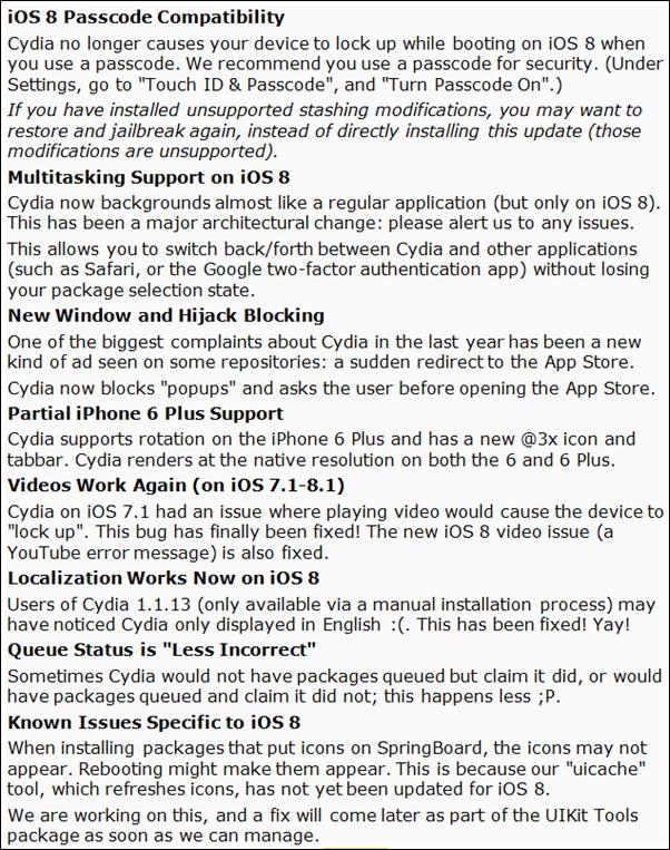 Cydia 1114 changelog