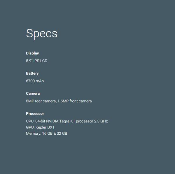 Nexus 9 specs