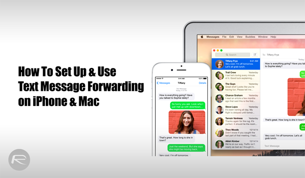 Text message forwarding Mac iOS
