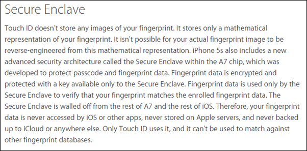 Touch ID secure enclave
