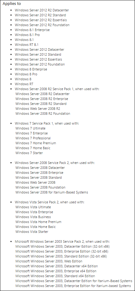 Windows patch list