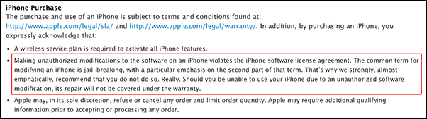 Apple jailbreak policy