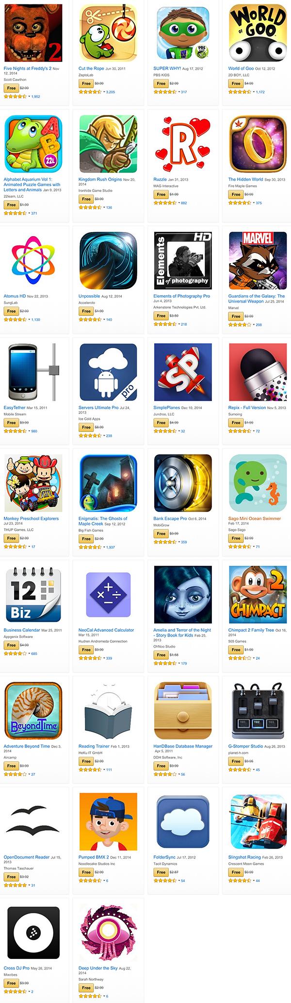 Amazon apps sale list