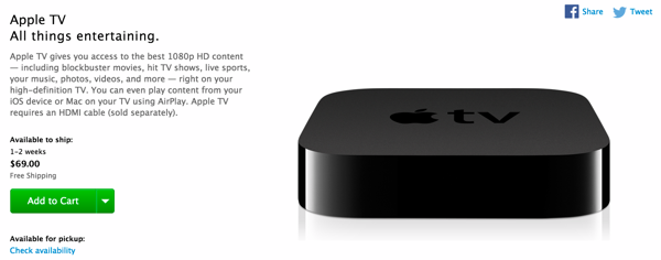 Apple TV shipping