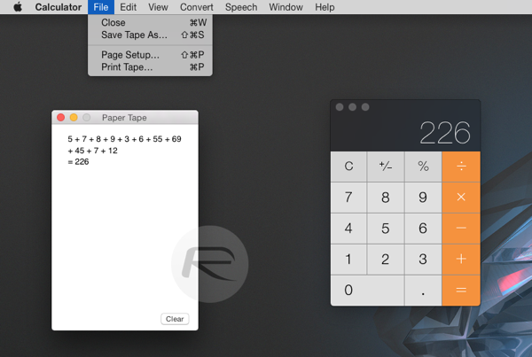How To Enable Paper Tape In Calculator App For Mac Os X Redmond Pie