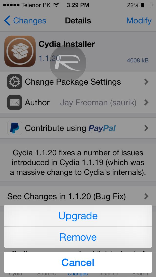 Cydia 1.1.20 update