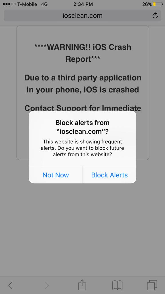 ios 9 safari alerts