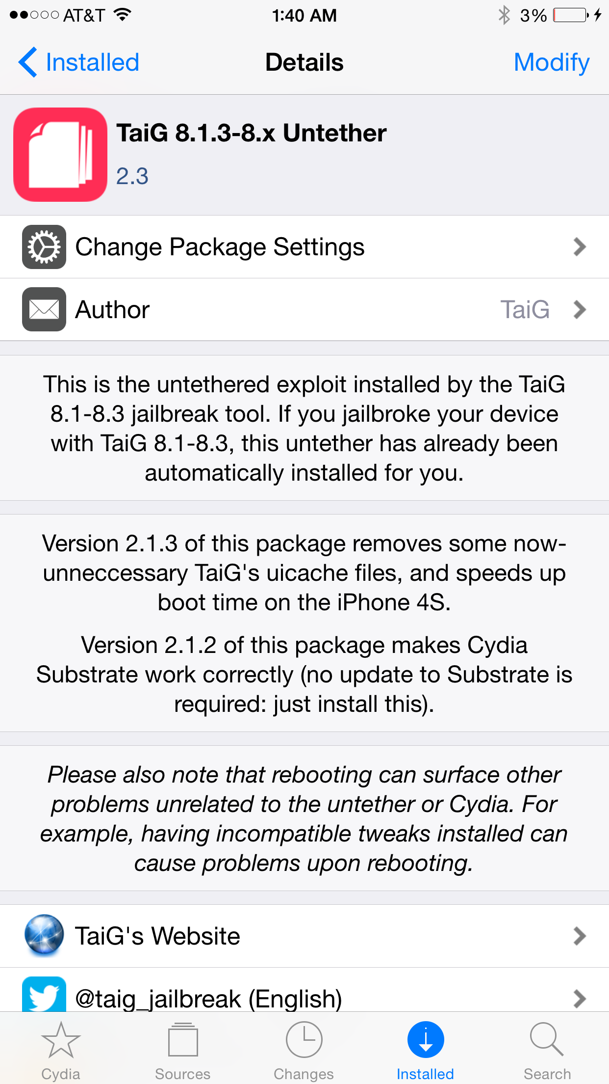 taig 2.3 on Cydia
