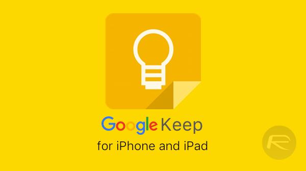 Google Keep iOS main