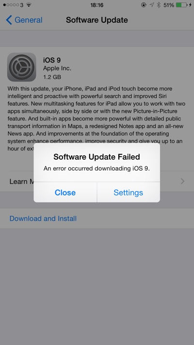 ios 9 software update failed
