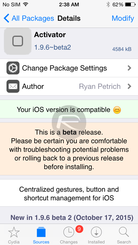 Activator beta update for iOS 9