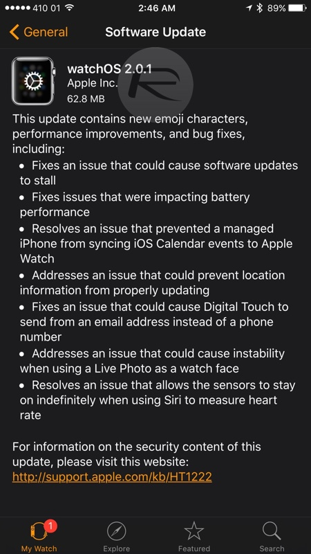 watchOS 2.0.1