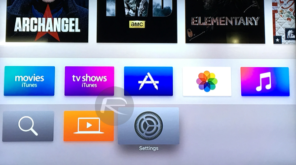 Settings Apple TV 4