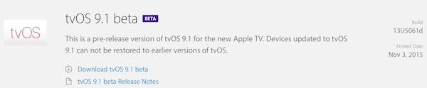 tvOS 9.1 beta