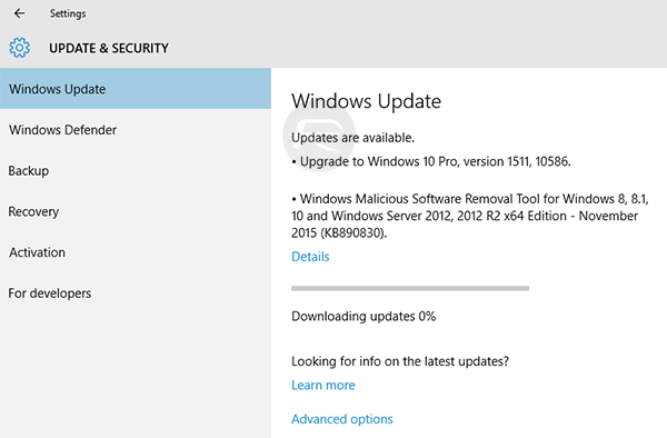 Windows 10 1511 build 10586 november update is out heres how to also starting from windows 10 1511 build 10586 users will be able to clean install and activate windows 10 using their windows 7 windows 8 and windows ccuart Image collections